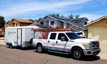 Sun Valley Solar Truck in Front of Solar House-1