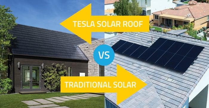 tesla solar roof vs traditional solar_arrows